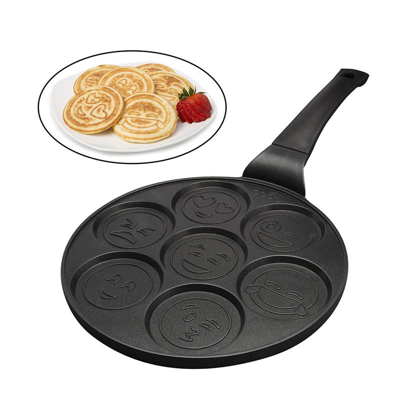 26cm Smiley Face Mini Pancake Non-stick Waffle baking Breakfast cookie omelette Egg fry pan