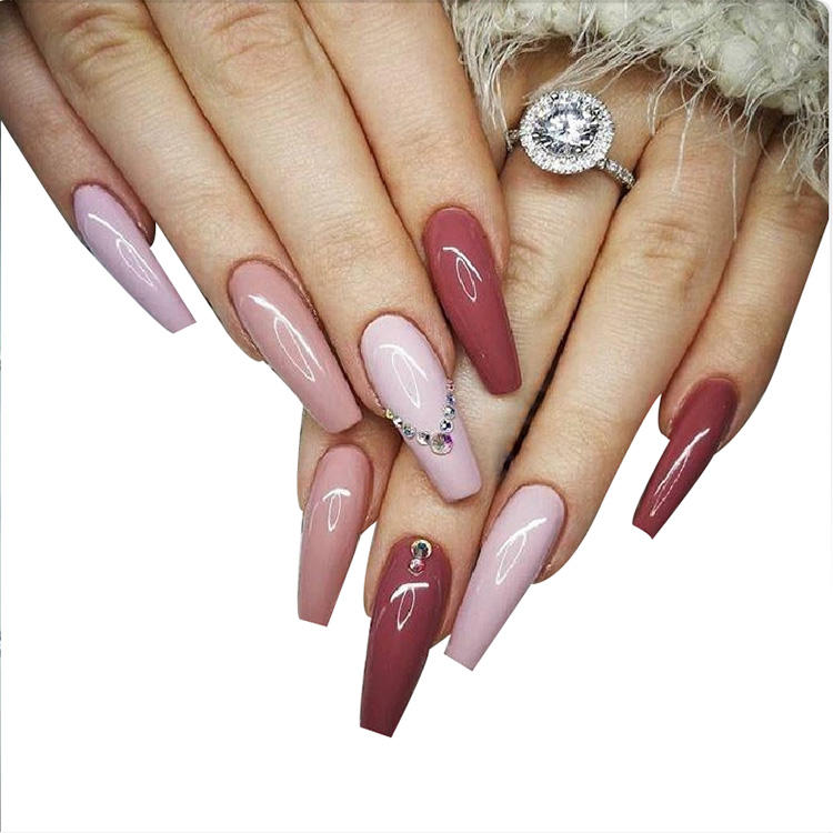 Coffin / ballerina pre glued press on nails wholesale printing nail art almond shaped glue on nails
