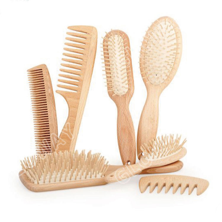 Personalized Hair Brush Personalized Private Label Detangling Cushion Paddle Round Comb All Purpose Hairbrush Kit Natural Wooden Hair Massage Brush Set