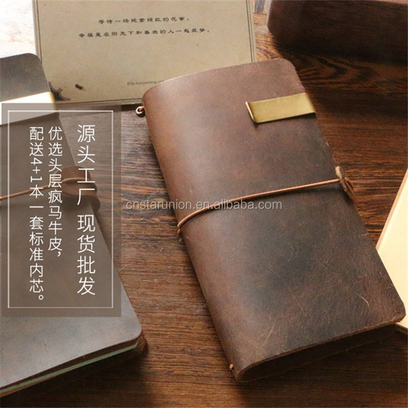 A5 High-grade Leather Cover Inner Page Notebook Travel Diary Hand Book With Elastic Strap For Traveler Notepad Made In China