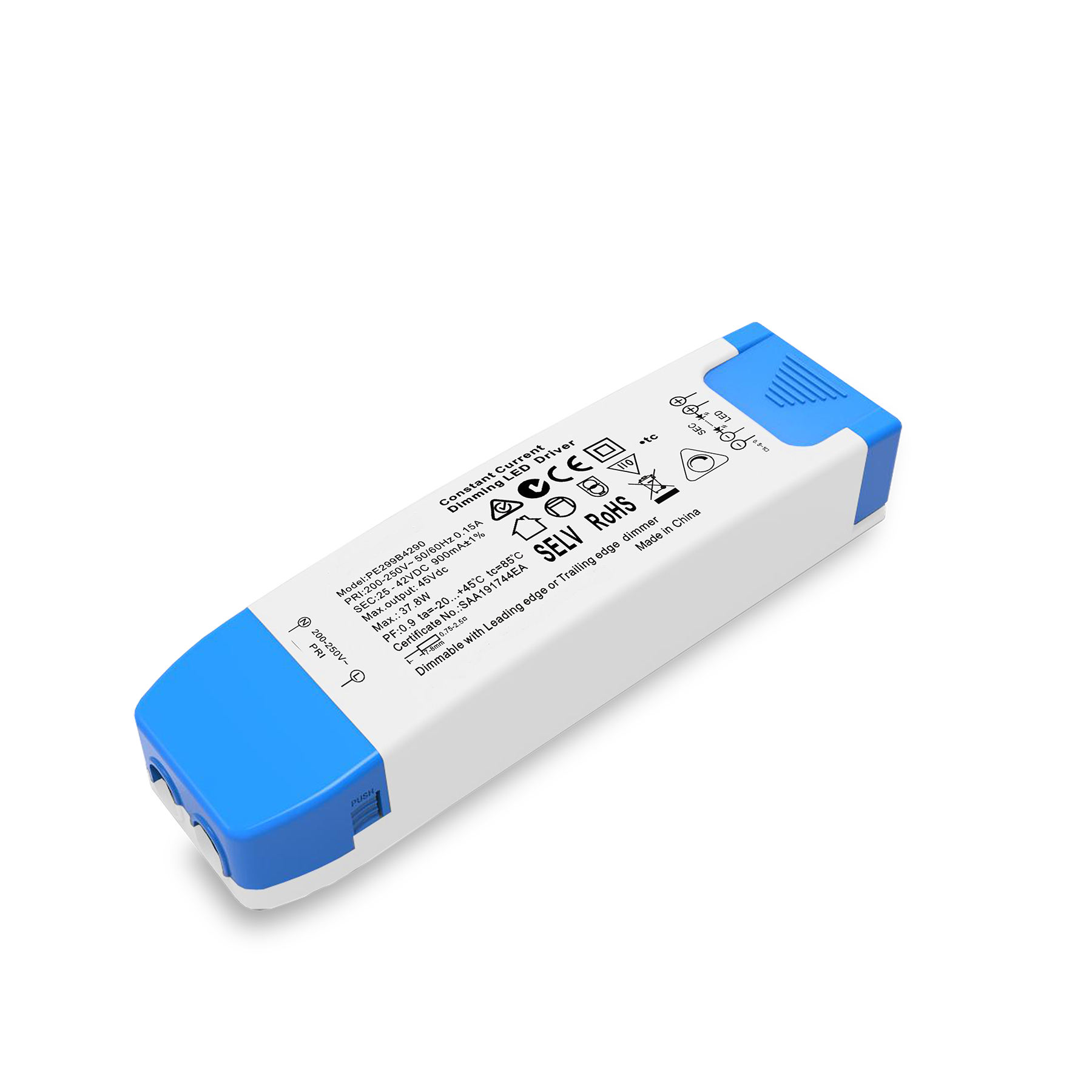 PE296B1435 25-42V 350ma led driver with trailig edge / leadding edge dimming mode
