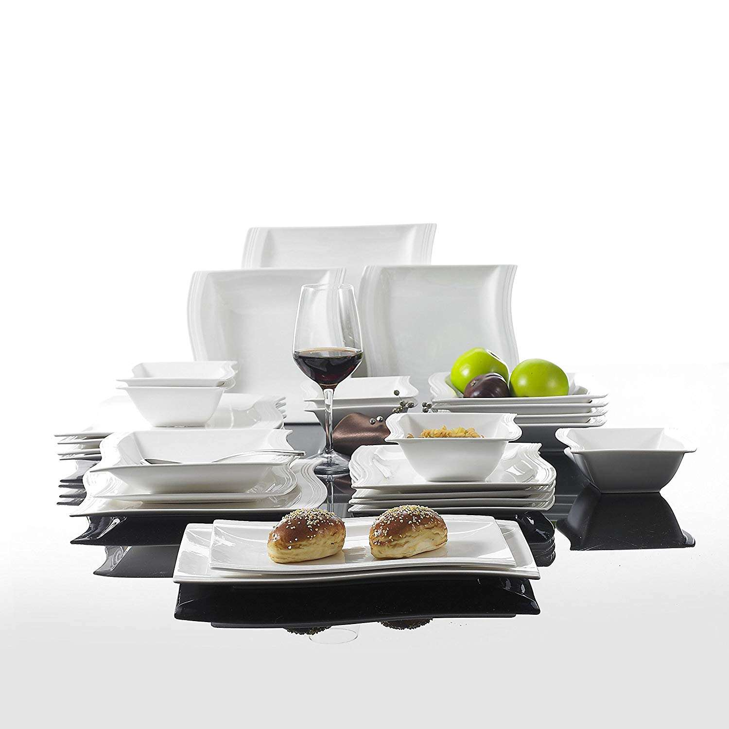 European Style Square Ceramics Stoneware Dinnerware White Modern Porcelain Dinner Set