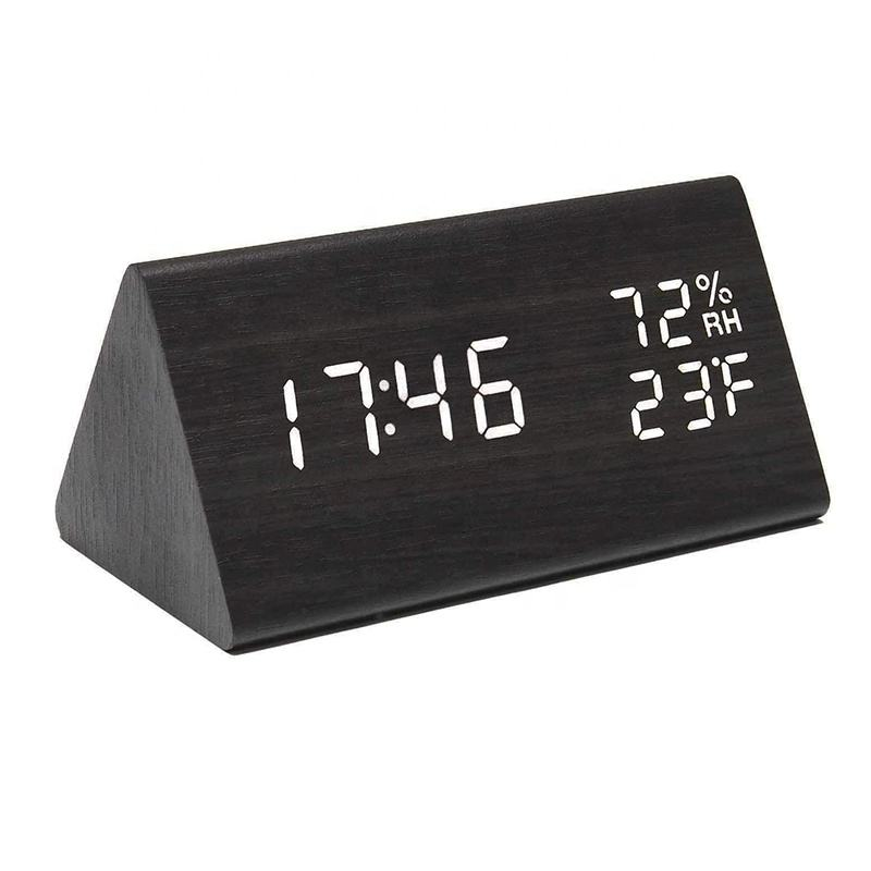 KH-WC008 Modern Multifunctional Desktop Electronic Triangle Table Wooden LED Digital Alarm Clock With Temperature Humidity