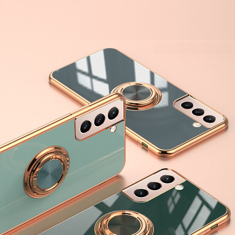 Stylish Glossy Electroplating 6D Laser Lens Protect TPU Ring Holder Case For Samsung Galaxy S21 With Microfiber Lining