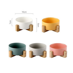 Wholesale Japan Style Printed White Custom Elevated Stand Raised Marble Ceramic Feeding Raised Water Pet Food Cat Bowl