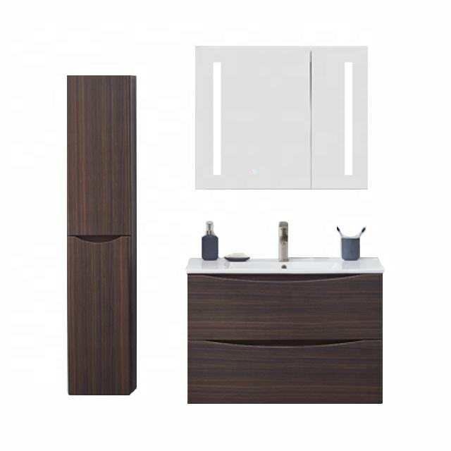 New fashion dark wood grain wall mounted modern vanity bathroom with mirror cabinet and side cabinet