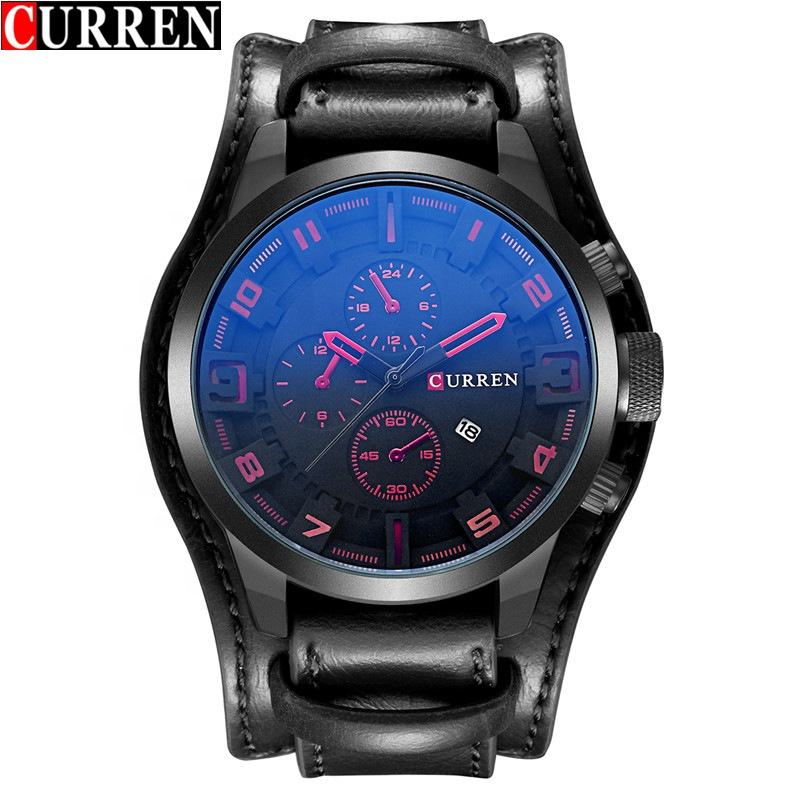 8225 Curren Watch Men Western Style Wide Strap Quartz Calendar Automatic Sport Watches For Male