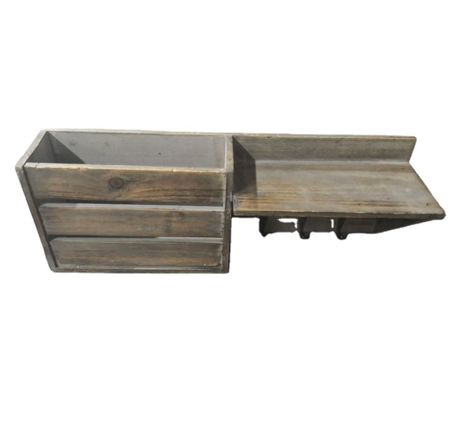 Wood Wall Shelf Mail Organizer with 3 Metal Hooks Wall Mounted Rustic Mail Slot