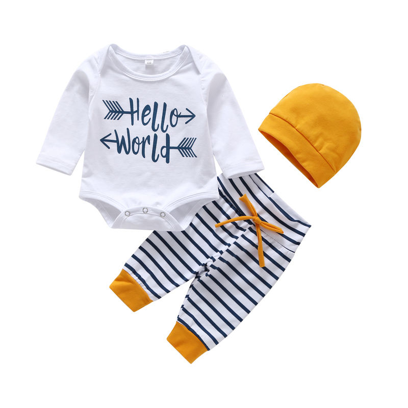 3 months casual stripe pants and boy infant clothes romper body suit for baby