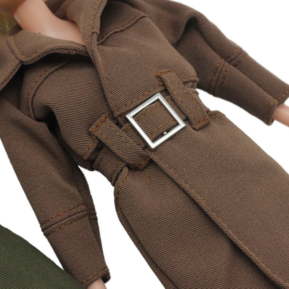 Custom Made 30 cm Woman doll Outwear Green Suedette Jacket With Waist Tie Detail