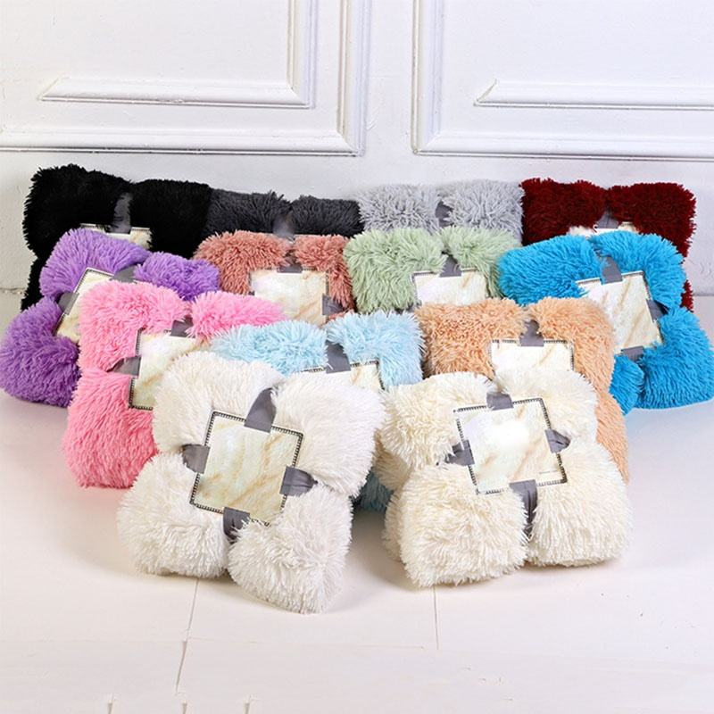 Cheap custom size fluffy cozy fleece blanketsuper soft Plush PV fleece faux fur throw blanket for sofa