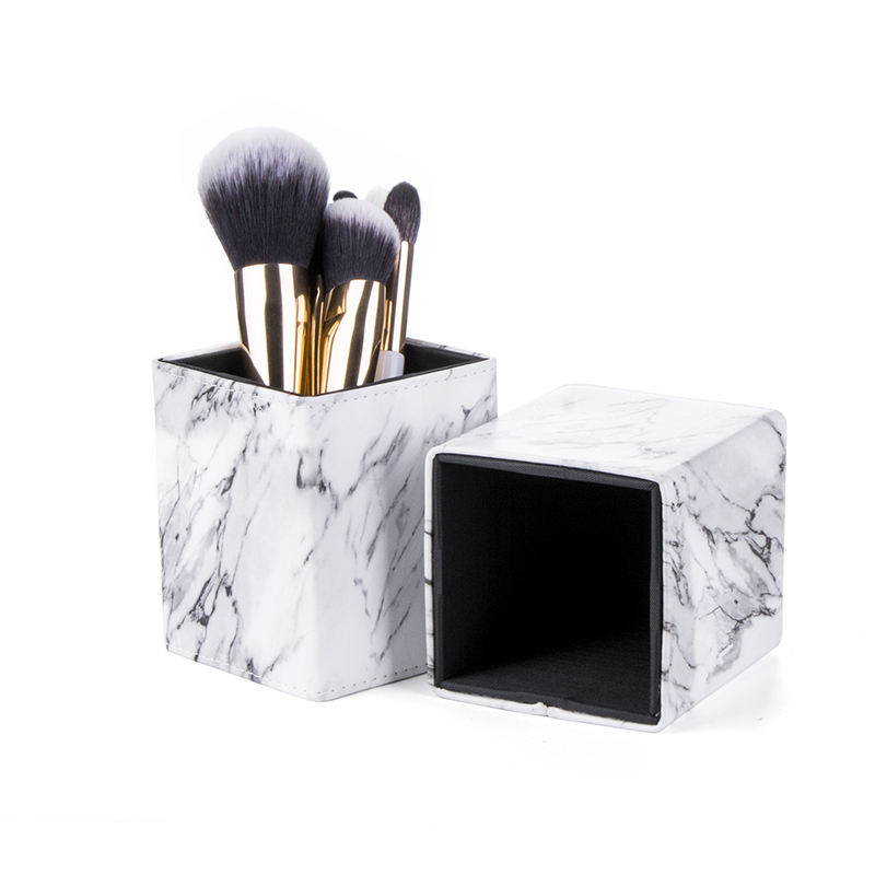 Portable Maquillaje Makeup Tool Accessories White Square Brush Holder Marble Cosmetic Bag & Cylinder