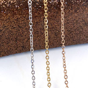 Cheap small gold rose gold black thin stainless steel chain necklace for jewelry making