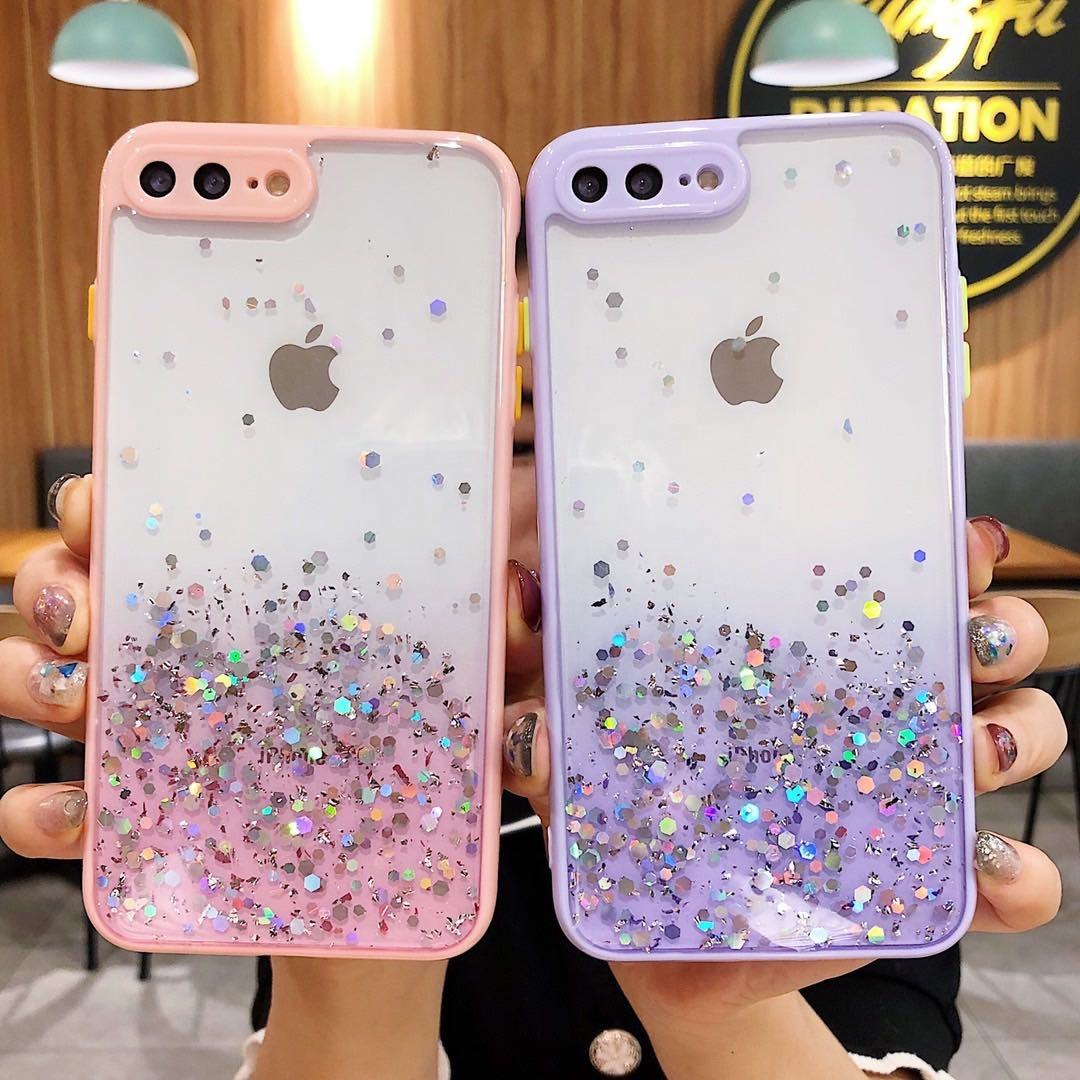 Luxury Bling Glitter Sequins Epoxy Resin Phone Case With Camera Protection Clear CoverためiPhone 12 11 Pro Max XS XR 8 7 Plus