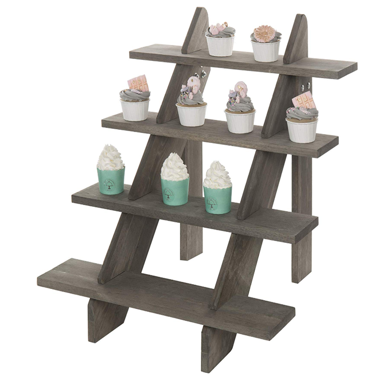 Quaint showcasing collection 4 tier rustic vintage gray wood risers retail