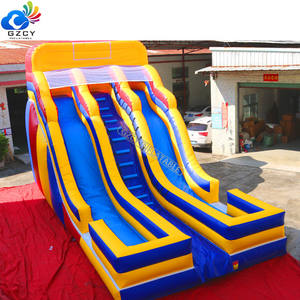 GZCY New Arrival Inflatable Dry Slide Outdoor Inflatable Two Lane Slide For Kids