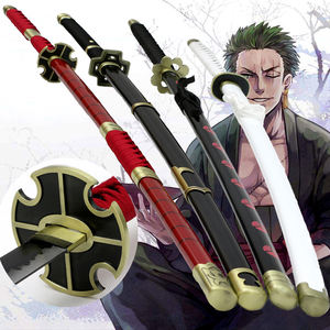 Chinese hand made wooden One Piece Roronoa Zoro Anime Figure Cosplay Wood Prop Toy Talwar Swords Weapon