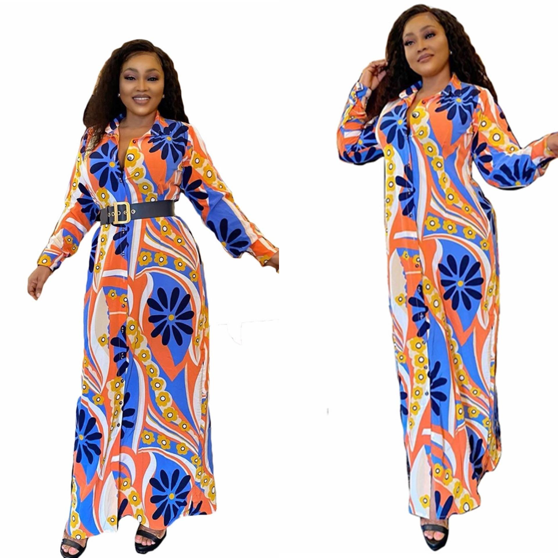 Wholesale long sleeve Africa plus size loose luxury print ladies 2020 elegant dresses for women