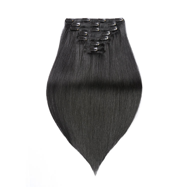 natural clip in cambodian human hair extensions, private label 100% virgin human hair clip in extensions for black women