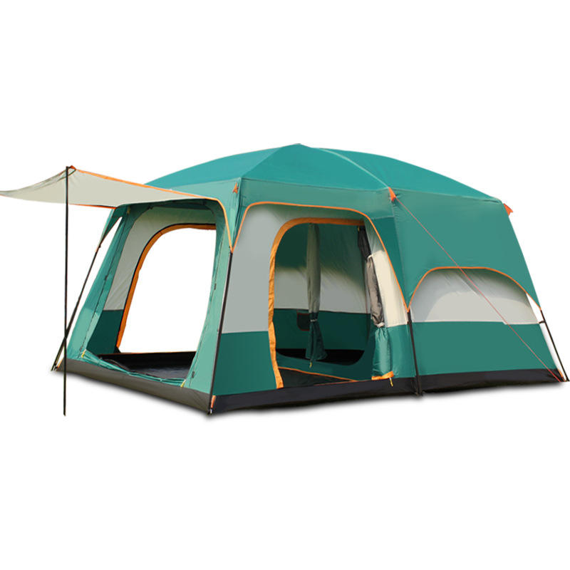 8-12 Persons Outdoor Large Space Family Camping Double Layers 2 rooms 1 living room camping tent