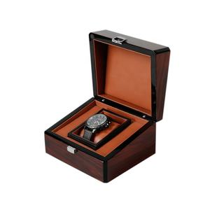 DS Wooden Black Edge High Gloss Band Hardware Front Buckle Wristwatch Gift Box