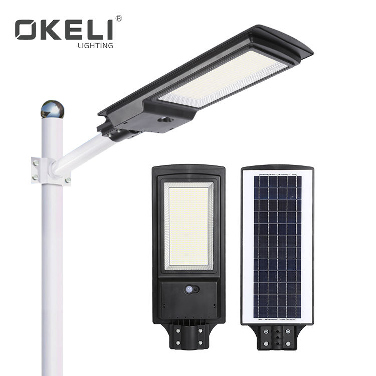 OKELI High Power Ip65 Waterproof 200w Integrated All In One Solar Led Street Light With Sensor
