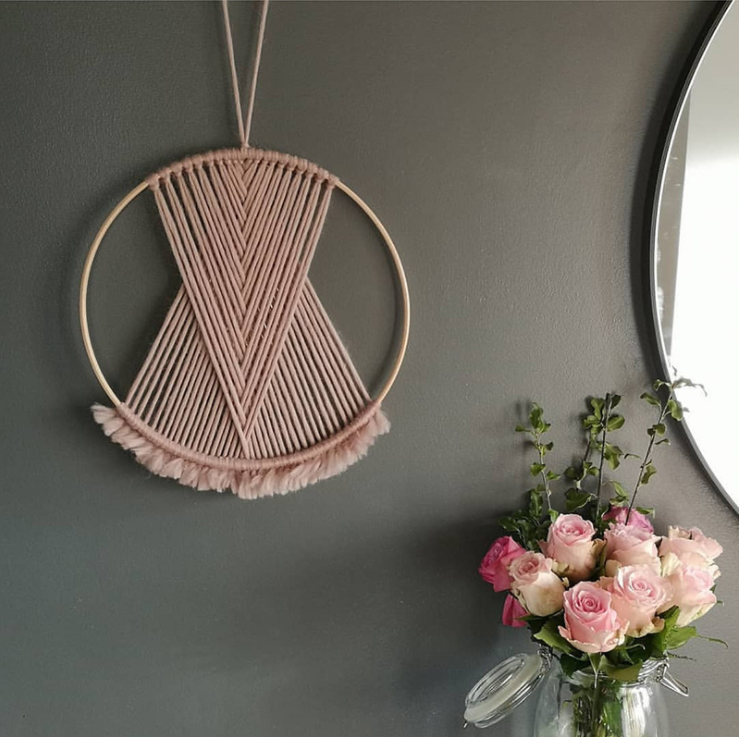 Boho decor Macrame picture wall hanging