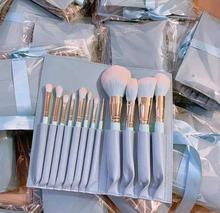 wholesale high quality new professional 12 pcs private label makeup brush blue makeup brush set with bag pouch