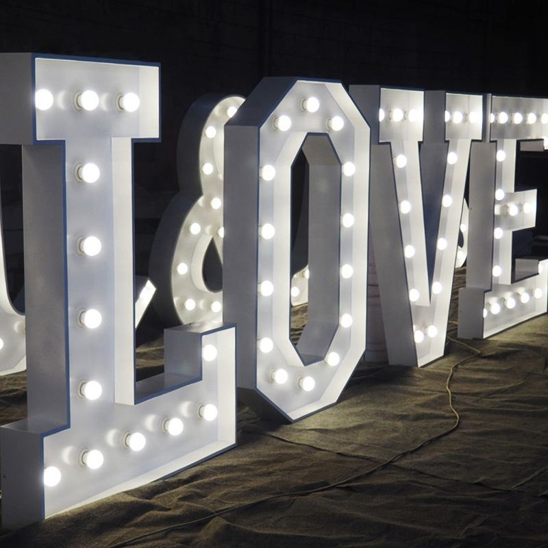 Factory Custom Bulb Signs Big Letters Wedding 4ft Marquee Letters Love Signs numbers light sign
