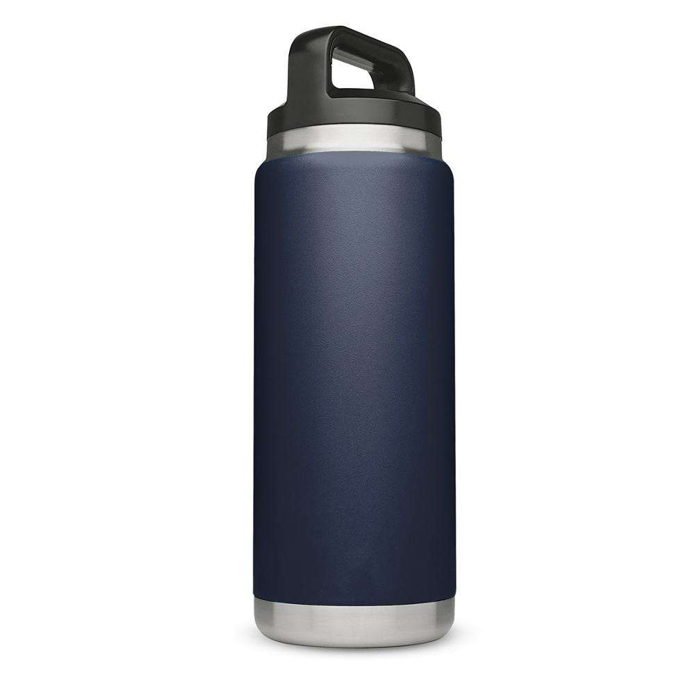 eco friendly blue blank personalized custom logo private label wide mouth reusable stainless steel bottle with handle