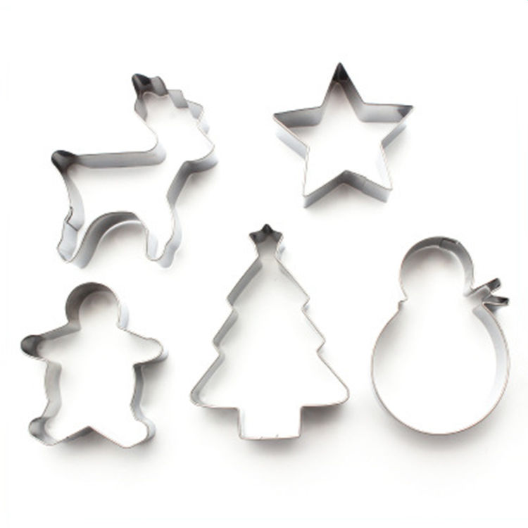 5 Pieces Stainless Steel Christmas Items Cookie Cutter Set