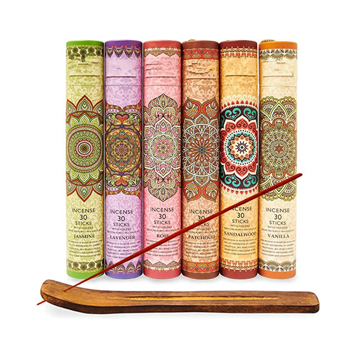 180pcs Bamboo Premium Incense Stick Lavender Sandalwood Jasmine Patchouli Rose Vanilla Includes a Holder and box