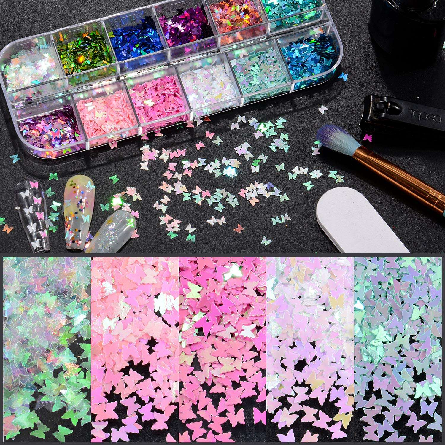 Amazon Hot Nail Art Decoration & DIY Crafting 3D Holographic nail art glitters Butterfly Nail Glitter