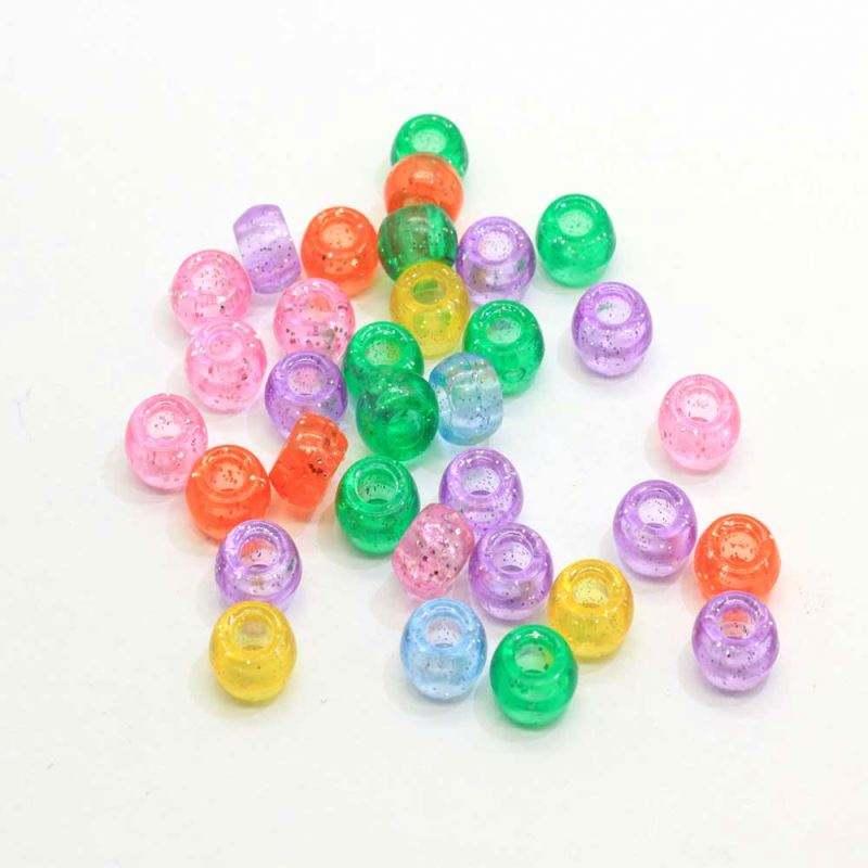 1000pcs 6x9mm Rainbow Transparent Multicolor Mix Craft Pony Beads Bulk Bag