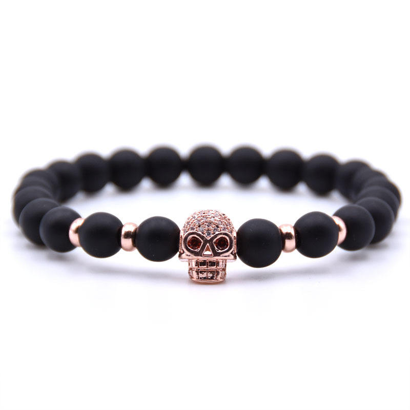 Micro-Inlaid Zircon Human Skull Head Bone Elastic Bracelet Frosted Stone Beads Bracelet For Men