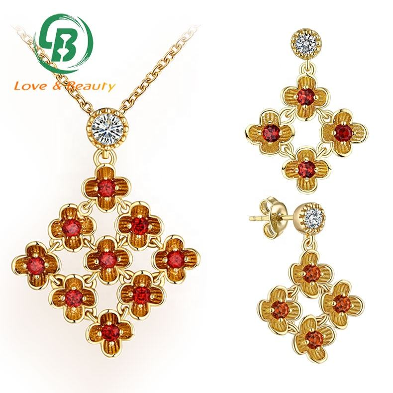 Wholesale 14K gold jewelry good luck garnet flower Oriental complex jewels set