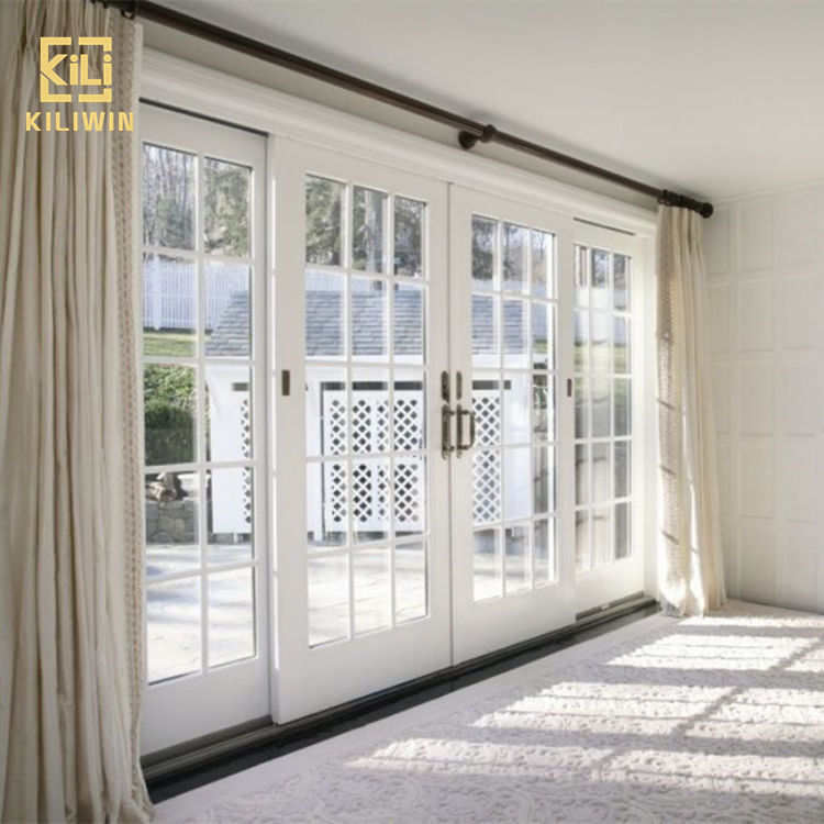Exterior french aluminium glass double glaze 4 panel sliding patio entry doors with grill design for pakistan