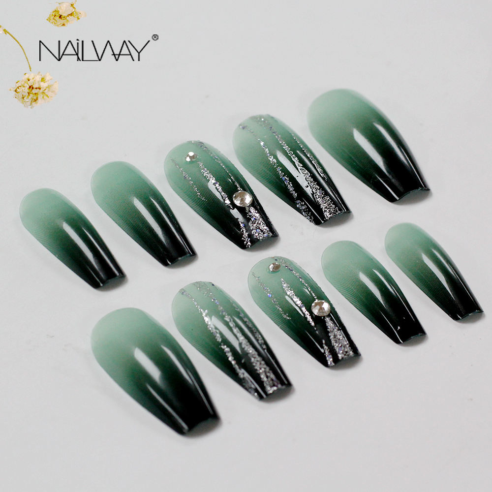 New Long Coffin False Nails Ombre Press On Nails Packaging Jewelry Nail Design With Glitter Full Cover Ballerina Fakenail