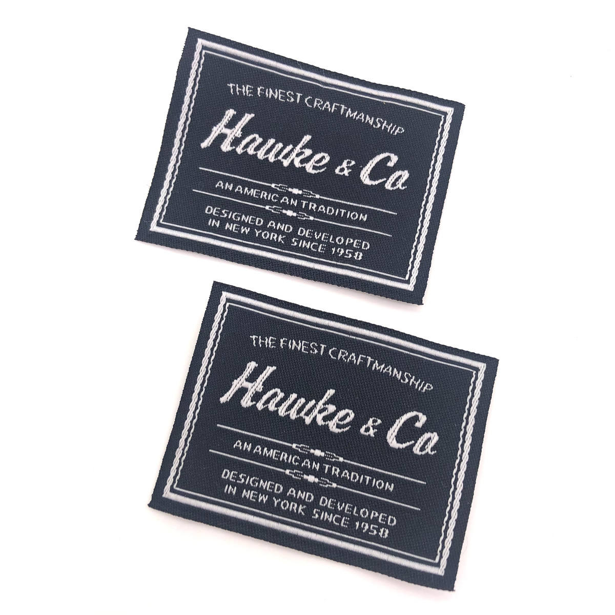 Garment Label Manufacturer Design Custom Brand Logo Straight Cut Woven Label Clothing Neck Labels for T Shirt