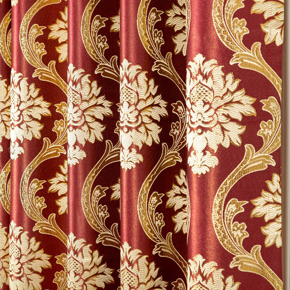 Luxury shiny gold thread jacquard fabric yarn dyed jacquard fabric red polyester fabrics for curtain and table cloth