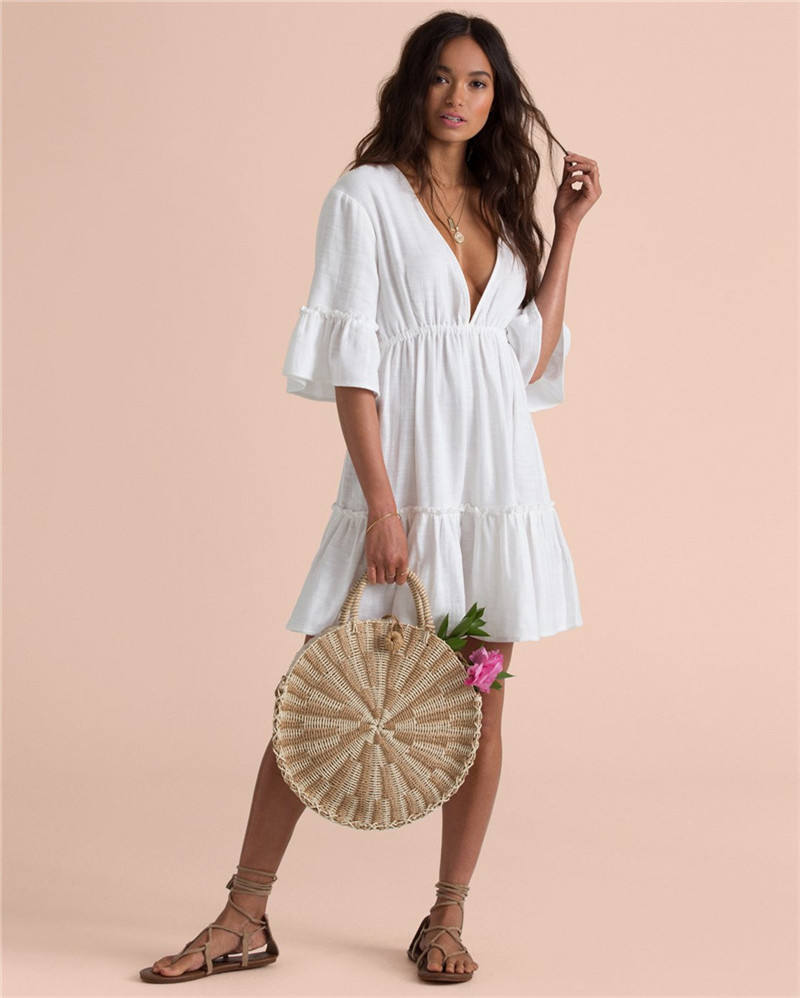 D3541 New Promotion White Casual Cover Up Beachwear Sexy Women Dress