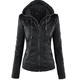 Wholesale Europe and America hot sale detachable lapel solid color ladies leather jacket