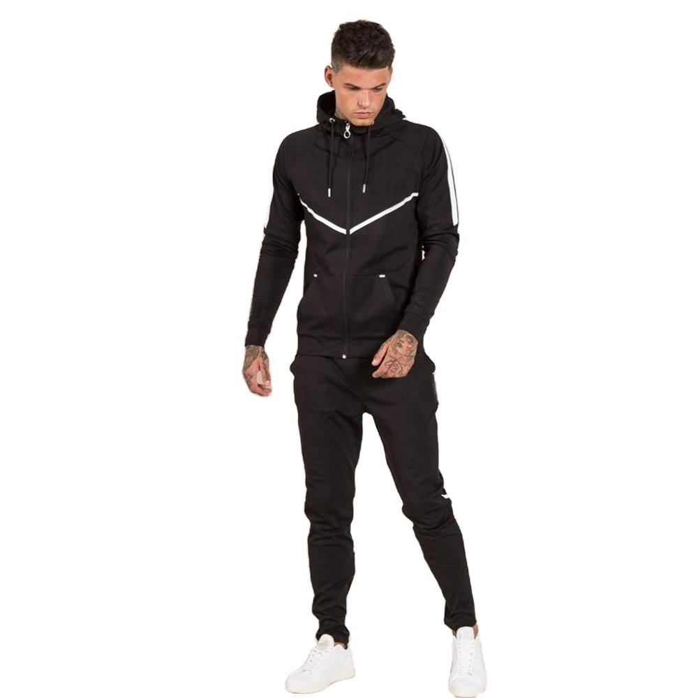 Mens zipper-up hooded black Tracksuit with white stripes manufactured by Lotte Apparel(Paypal accepted)