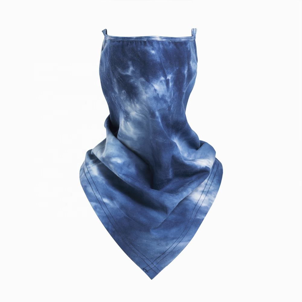 2021 Wholesale Suitable 100% Cotton Fabric snoods face coverings Tie Dye Blue Color Bandana