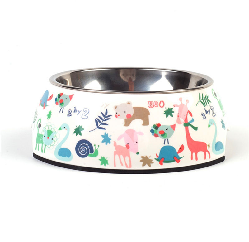 High quality cute melamine+stainless steel pet dog bowl