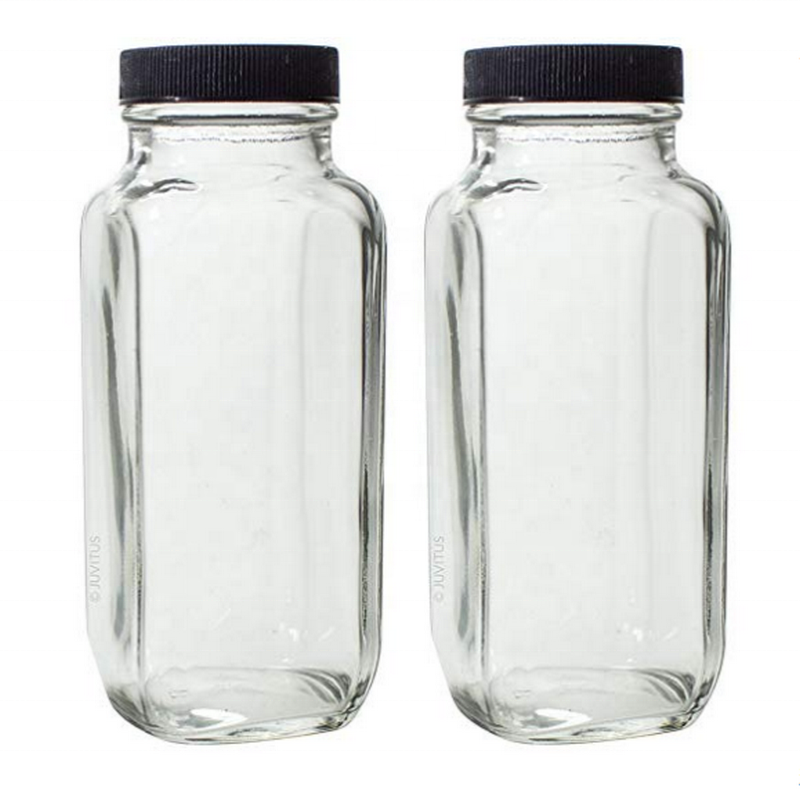 Avertan stocked wholesale 16oz cold pressed french square glass juice bottle with plastic lid