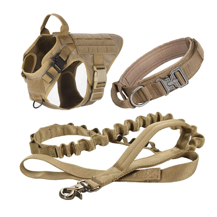 Heavy Duty Custom Designer Adjustable Luxury Fancy Fashion Military Tactical Harness Service Dog Collar and Leash Set
