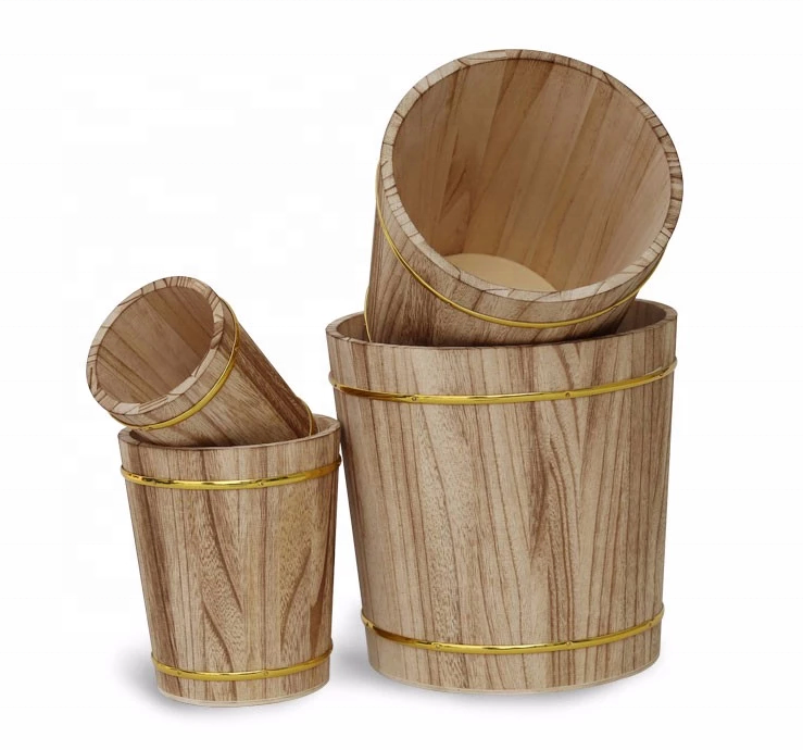 Custom small wood water barrel mini wooden barrel Set of 4