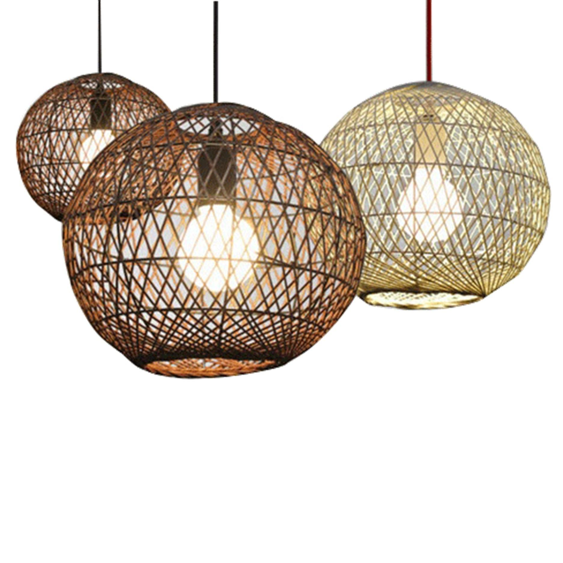 New Decoration Bamboo Rattan Woven Hanging Lamp Shade Indoor Pendant Light Fittings For Living Room