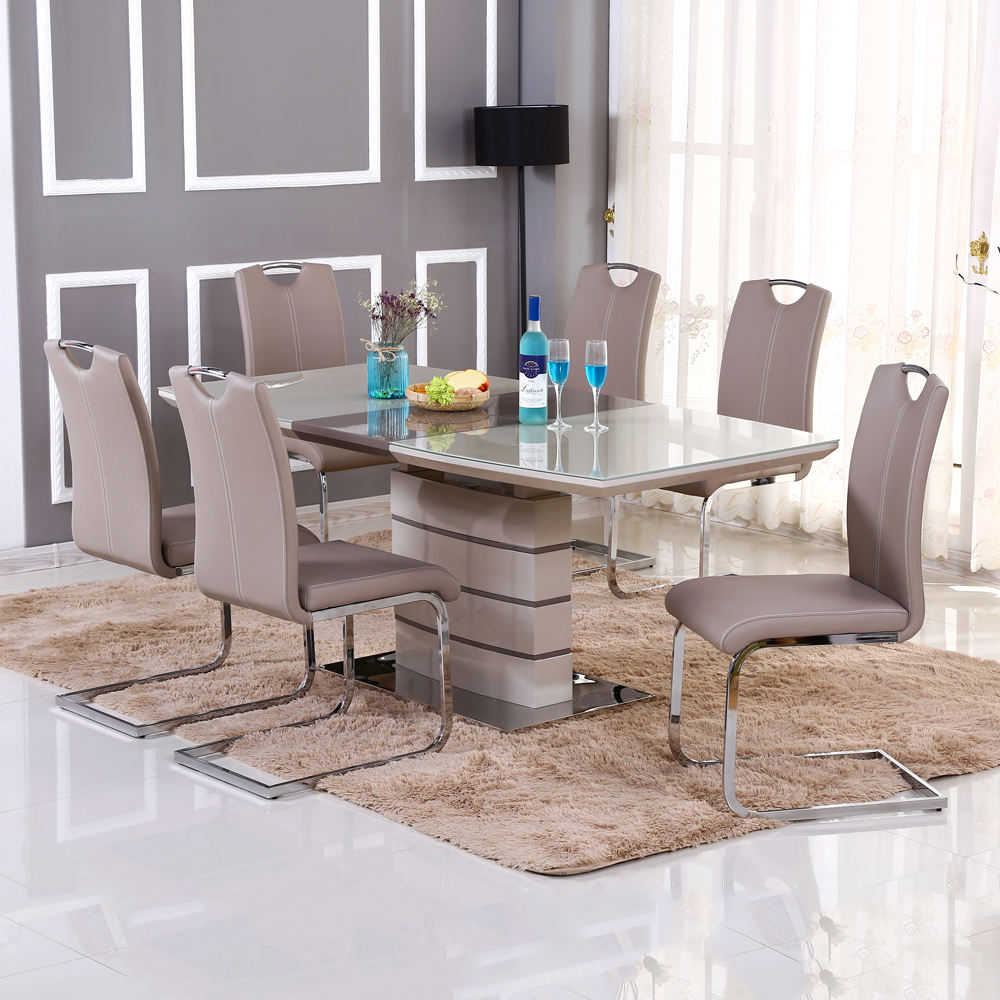 Hot selling dining table set modern dining room furniture table and chairs with extendable size
